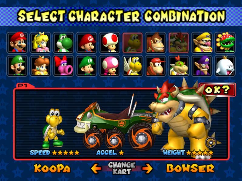 mario kart double dash - character selection screen
