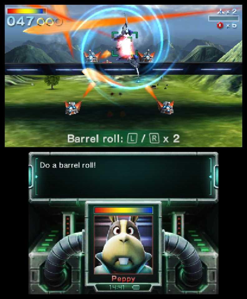 Star Fox 64 3d - two screens
