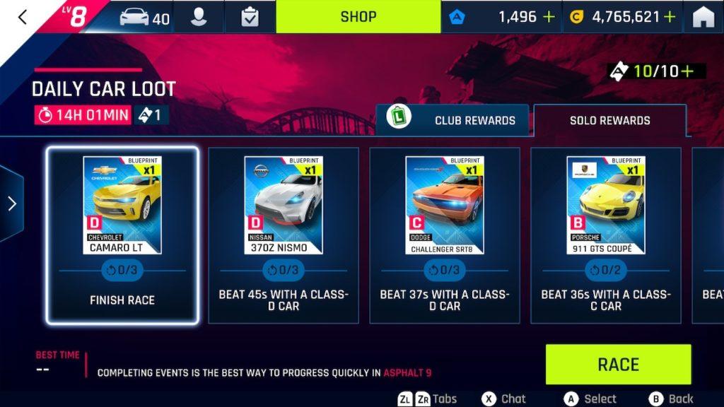 Asphalt 9 Legends Daily Car Loot screen