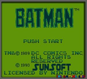 Title screen for Batman on the Game Boy.