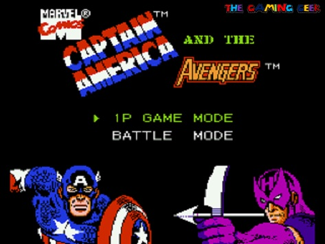 captain america and the avengers NES title screen