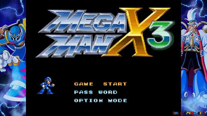 Title screen for Mega Man X3.