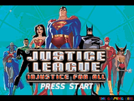 Justice League: Injustice For All title screen
