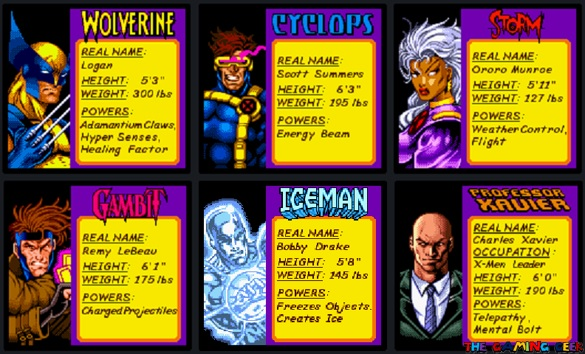 X-Men: Mutant Wars - Character Bios