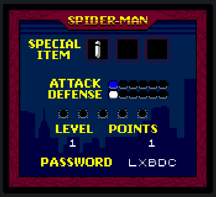 Spider-Man Status Screen